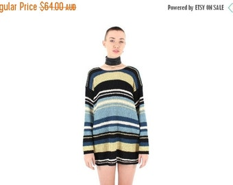 10,000 LIKES 7 Day Sale Babysitters Club Grunge 90s Pastel Stripe Knit Slouchy / Oversized Sweater Long Sleeve Mini Dress