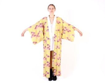 JAPANESE POP ART Flower / Floral Rainbow Cotton Traditional Kimono Duster Robe / Maxi Dress