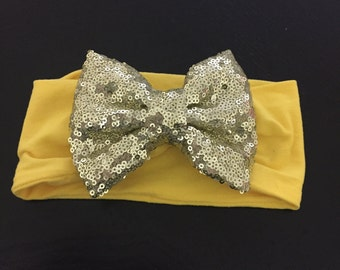 Headband yellow with sequin bow baby infant toddler