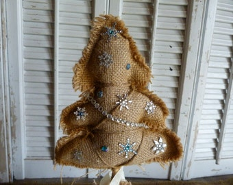 Burlap Snow Flake Tree Centerpiece Tree Centerpiece Burlap Craft Trees