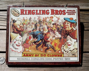 Vintage Army of Fifty Clowns Wall Plaque - NOS Action Industries Coulrophobia Nigthmare Sign - Ringling Bros 1910 Mini Repro Poster
