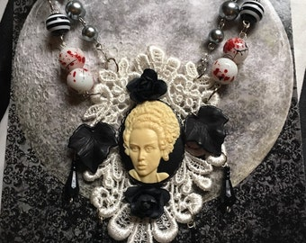 White Lace Necklace with Bride of Frankenstein Cameo.