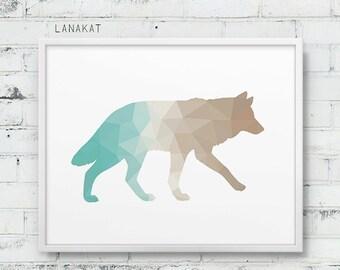 Mint & Sand Wolf Print. Triangle Geometric Print. Wolf Wall Art. Woodland Animal Print. Turquoise Beige. Nursery Art Home Decor. Printable