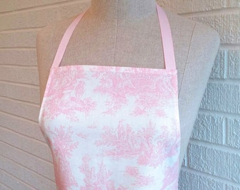 Ruffled Toile Pale Pink Apron with Pocket - Can be Personalized, Light Pink and White, Free Shipping, Made in The USA, Pastel Pink