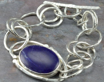Lapis Chain Bracelet - Oval Lapis Lazuli Link Bracelet