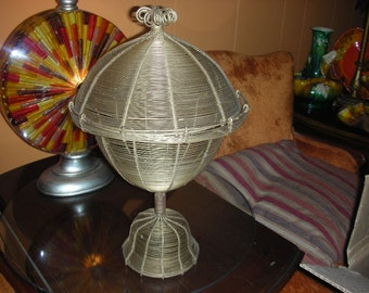 Outstanding Atomic Wire Footed Lidded Compote / Basket