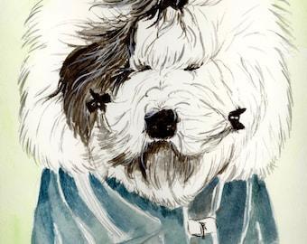 Old English Sheepdog Print, OES Giclee Print, Sheepdog Decor, Sheepdog Painting, Sheepdog Watercolor, Watercolor Sheepdog, Sheepdog Gifts
