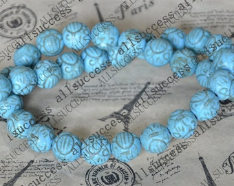 15inch 11mm Single carved round tuquoise beads,gemstone cham,turquoise charm,turquoise stone loose strand