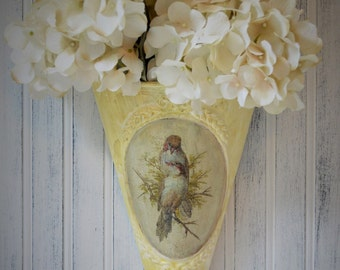 Wall pocket Metal Decoupage Bird print Aged Yellow Chartreuse Shabby Victorian cottage Upcyclesisters
