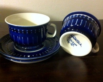 Arabia Valencia coffee/tea cups with saucers, set of 2