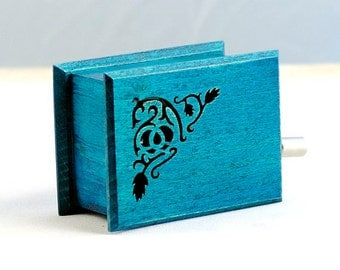 Variable music changeable music - more music with one music box  - optional melody paper strips - turquoise flower