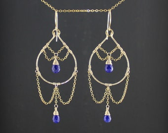 Persian Princess Gold Lapis Earrings//Lapis lazuli Earrings//Lapis Hoop Drop Earrings//Dark Blue Chandelier Earrings//Exotic, Sensual