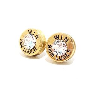 9mm Bullet Pierced Earrings, Bullet Jewelry Earrings