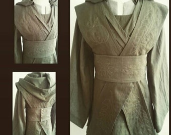 MADE TO order: medieval knights wrap tunic hood undertunic pants belt & sashes embroidered costume cosplay larp SF lotr