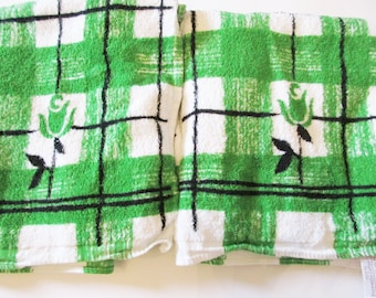 Pair of German Vintage Retro Terry Cloth Bath Towels with Roses Stripes and Checkboard pattern,