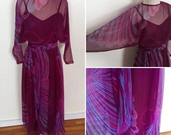 Beautiful butterfly print 70s chiffon maxi dresss