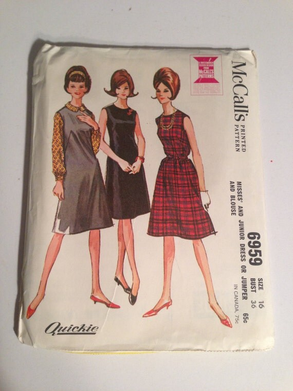 McCalls 60s Sewing Pattern 7959 Misses and Junior Dress or Jumper and Blouse Size 16