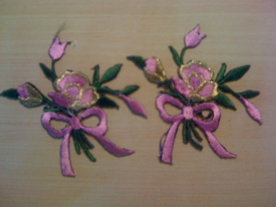 Two Bushels of Pink Roses Iron On Appliques A13