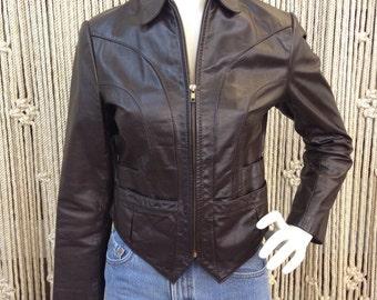 Incredible 1970's dark brown genuine leather jacket
