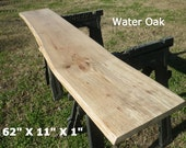 Live Edge Foyer Table Top, Finished Water Oak Wood Slab DIY Floating Shelf, Natural Edge Table, Work Station, Side Table, Console Top, 4525
