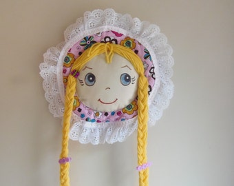Rapunzel braids Barrette Holder Organizer BLUE eyes BLONDE hair Butterfly Charm PINK Bonnet with colorful Flowers ready to hang