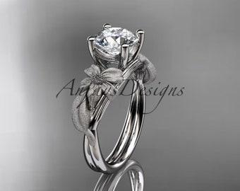 14kt white gold leaf and vine engagement ring ADLR189