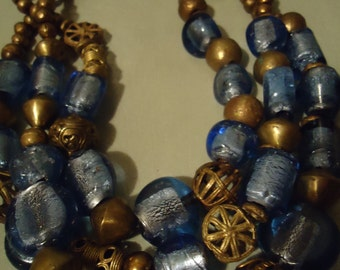 Boho Handcrafted One Of A Kind Cool Blue Ice Three Strand Boho Statement Necklace