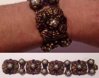 1930s Czech bracelet with 'pearls' and Czech glass 'stones'