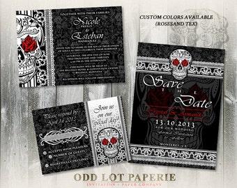 Skull Wedding Invitation Black And White Sugar Skull Invite Day of the Dead Dia De Los Muertos DIY Printable Sugar Skull Wedding Invite