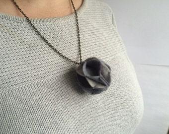 Greyscale - Small Felt Pom Pom Statement Necklace