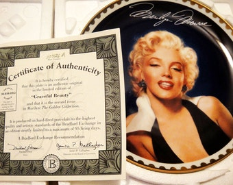 "Bradford Exchange Marilyn Monroe Porcelain Plate ""Graceful Beauty"" Marilyn: The Gold Collection"