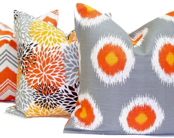 FALL Pillows, Gray Pillow Cover, Orange Decorative Pillow, ChevronThrow Pillow, Fall Pillows, Accent Pillow, All Sizes, Euro, Cushion