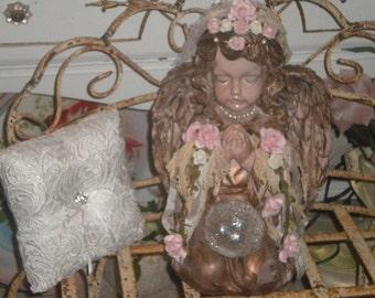 CLEARANCE......Gorgeous OOAK Large Angel/Cherub Statue, Baby's Room. Shabby chic, Romantic, Serine Angel,Wedding, Valentine's Gift
