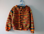 Vintage hand knit cardigan sweater in rainbow colours / marled knit sweater size 4T to 6