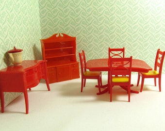 Vintage Renwal Red Dining Room Complete Dollhouse Furniture 7 Pieces, Renwal Dining Room Set, Renwal Marx Ideal Dollhouse Dining Room Set