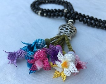 Necklace Handmade Multi Color Needle Lace, Also Special Design Tesbih, Tasbih, Tespih for Prayers N7