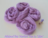 Dyed Merino Top from Ashland Bay - 2 oz of 21.5 Micron Combed Top for Spinning or Felting in Lilac - Soft Lavender Merino Top/Merino Roving
