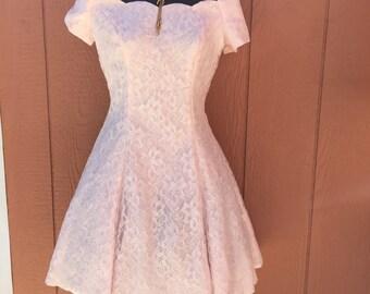 Vintage 1980's Pink Lace Mini Party Dress