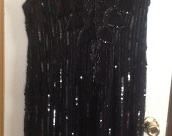 Vintage Black Beaded Sequin Dress XL
