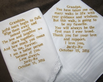 Grandparents of the Bride Personalized Wedding Handkerchiefs - Free Gift Envelopes - Shown with Non Script Gold Writing