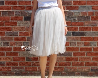 Claire - Dove Gray Tulle Skirt, Soft Tulle Skirt, Tea Length Tulle Skirt, Midi Tutu, Adult Tutu, Princess Tutu
