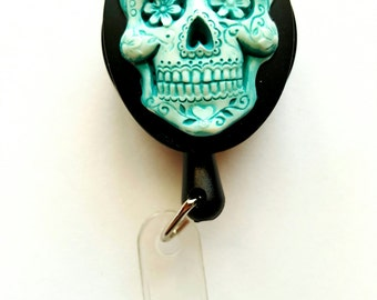 Blue Turquoise Sugar Skull Badge REEL retractable ID Card Nurse Key CAMEO Teacher