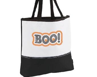 Tote Bag- Halloween Boo Rhinestone Tote- (Tote Bag, Bag, Halloween, Candy, Candy Bag, Halloween Candy, Trick or Treat Bag)