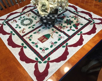 Vintage White, Green and Red Christmas or Holiday tablecloth for housewares, home decor by MarlenesAttic