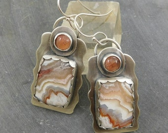Crazy Lace Agate Sunstone Dangle Earrings, Oxidized Sterling Silver, Multi Gemstone, Earth Tone Stones