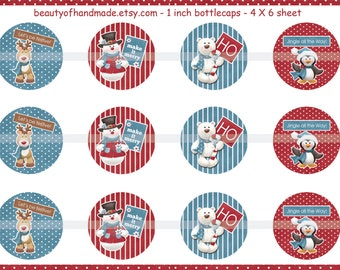 INSTANT DOWNLOAD Snowman 4X6 Bottlecap Images digital collage sheet for bottlecaps glass tiles hairbows bottle cap images 1 inch circle
