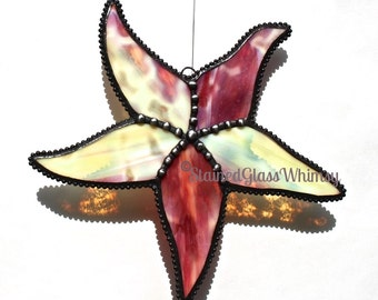 Stained Glass STARFISH Suncatcher, Sunset Sands; Yellow, Rosy Cranberry Pinks, Honey Amber, White; Decorative Soldering, USA Original