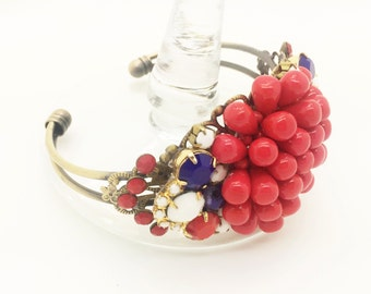 4th of July, Americana, Patriotic, Red, White & Blue, Beautiful Handcrafted Americana Bracelet ~ Vintage Earring Components