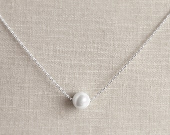 Single Pearl Necklace - Bridesmaid Gifts - White Pearls - Bridal Jewelry