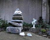 Natural Beach Stone Stack 9 Ocean Rocks Memorial Stones Memorial Marker Garden Cairn Rock Art Yoga Sculpture Meditation Gifts Yard Art Sea